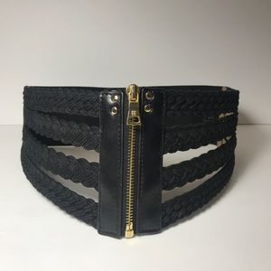 BCBGMAXAZRIA Black wide corset belt